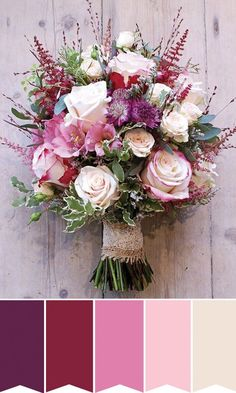 Romantic and Rustic Pinks | Flowers include:  Roses, Astilbe, Alstromeria and Astrantia and Foliage