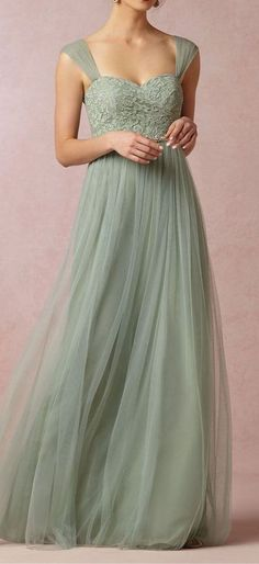 A-line Straps Green Tulle Bridesmaid Dress,Green Lace Prom Dress,Full Length Green Formal Party Dress