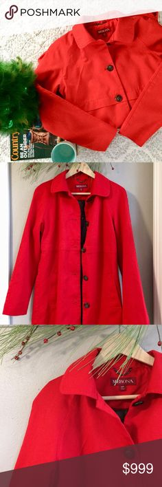 S Merona Twill Coat S 🆕 Merona Twill Coat. Bright lipstick red, gorgeous color! Front slant pockets, gathering at mid back for an extra feminine detail, an s check out the lining! Lighter weight, perfect for winters outside of the Midwest. New with out tags. Bundle for additional discounts and seller offers. Merona Jackets & Coats