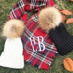 Monogrammed blanket scarf and fur pom pom hats are the perfect gift this holiday
