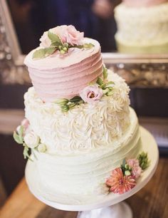 Pastel pink,Ivory & green rustic buttercream wedding cake. Finished with fresh flowers.   https://m.facebook.com/cupcakedelightbristol/photos/a.895607423854576.1073741956.132088616873131/895606053854713/?type=3&source=54&_rdr