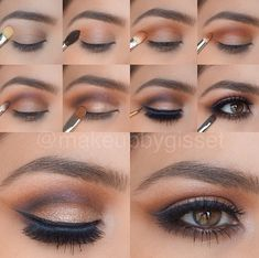 For brown eyes : Good colors to highlight Brown eyes often tend to be accompanied by shadow brown eyelid. A time has gone priori , since brown eyes dress as now shadows with colored lids ! Dare warm colors : brown , gray , black, dark blue , violet , purple , bronze , brass , gold ... for a