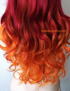 Wine red / Pastel Orange Ombre wig.  Long curly hairstyle long side bangs wig. Durable heat resistant wig for daytime use or Cosplay.