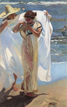 After the Bath 1908 Joaquin Sorolla y Bastida (1863-1923) Oil on canvas 176 x 111.5 cm  Painted at a Valencian beach in the summer of 1908, After the Bath is without doubt one of Sorolla's most magnificent and memorable works. Ever since it was first exhibited at the Hispanic Society in 1909, it has elicited admiration. Sorolla again demonstrates his technical mastery in his rendering of the translucent fabric that clings to the young woman's flesh, still wet from her dip in the sea.