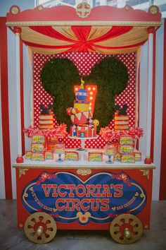 Cake Table from a Mickey Mouse Circus Birthday Party