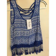 Aztec Boutique Top With Fringe *first pic is of the back *perfect condition - never worn *from a local boutique *NWT *super light and breezy!! Feel free to comment with questions or request for more pictures  Bluetique Tops