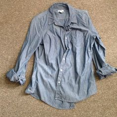 Denim button up shirt Super cute button up shirt with pin stripe design from Old Navy. Gently worn and in great shape! Old Navy Tops Button Down Shirts