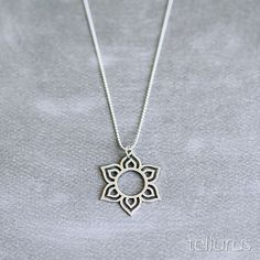 Sterling silver Lotus Mandala pendant necklace on ball by tellurus
