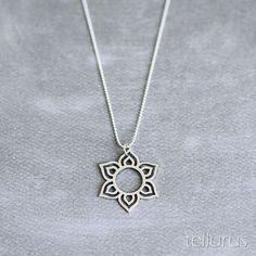 Sterling silver Lotus Mandala pendant necklace on ball by tellurus