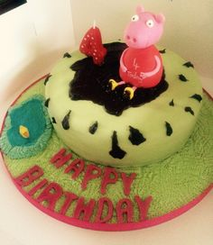 MyGoodness Vegan birthday cake; Peppa pig jumping in muddy puddles