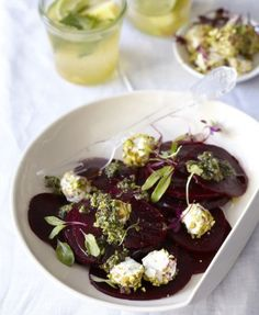 Beetroot Carpaccio with Nut-coated Goat's Cheese - Good Housekeeping Sibas Table Recipes, Beetroot Carpaccio, Christmas Starters, Cook Up A Storm, Christmas Lunch, Goat Cheese Salad, Good Housekeeping, Vegan Options, Queso
