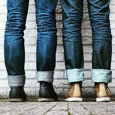 This goes out to all guys who are lovers of the rugged style, selvage denim junkies, and so on. Workwear Fashion, Denim Fashion, Fashion Boots, Raw Denim, Denim Jeans Men, Blue Jeans, Nudie Jeans, Denham Jeans, Butch Fashion