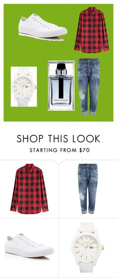"""Mason Prewett"" by bexie16 on Polyvore featuring Dsquared2, Converse, Lacoste, Christian Dior, men's fashion and menswear"