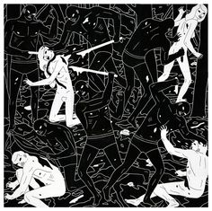 Paintings portraying a dystopian, yet an authoritatively ordered world where evil is the victor of all circumstance by Los Angeles based artist Cleon Peterson: