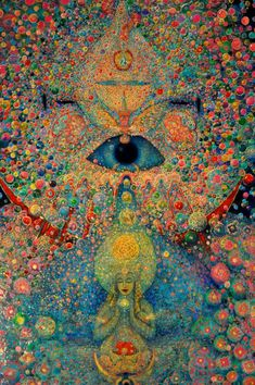 This beautiful piece of spiritual art is an oil painting by Leigh J. McCloskey, who has studied studied Hermeticism, Alchemy and the Kabbalah. Psychedelic Art, Trippy Wallpaper, Psy Art, Hippie Art, Visionary Art, Art Inspo, Fantasy Art, Cool Art, Illustration Art
