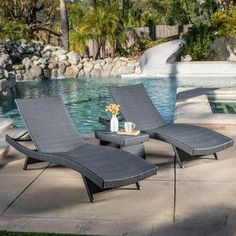 Christopher Knight Home Outdoor Brown Wicker 3-piece Adjustable Chaise Lounge Set