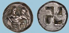 G748 A Rare Greek Silver Stater of the Orreskoi (Thraco-Macedonian Tribes), a Fine Late Archaic Depiction of a Centaur and Nymph   Flickr: Intercambio de fotos