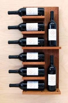 So you& done a mini-escape to the Wine Country, and picked up some drinkable souvenirs. You might as well show them off. Modern Cellar& Float Wall Shelf is a nice, modern alternative to ordinary wine racks. It also gets our thumbs up for being green. Wine Shelves, Wine Storage, Storage Rack, Wood Wine Racks, Wall Mounted Wine Racks, Diy Wine Racks, Wine Display, Shelf Display, Display Case