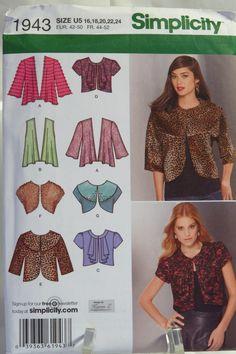 d8688fddba9 Simplicity 1943 Misses  Knit and Woven Jackets. Misses ClothingBolero  JacketJacket ...