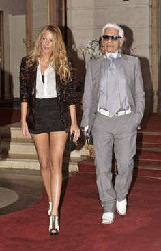 Karl Lagerfeld with his muse and style icon Blake Lively. Loove