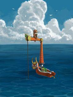The Legend of Zelda The Wind Waker fan art, Link