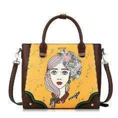 Fashion Brown PU Leather Cute Girl Pattern Vintage Style Women Lolita Bag