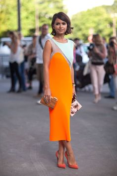 Paris Street Style Fall Couture 2013 - 2013 Fall Haute Couture Parisian Street Style - Harper's BAZAAR #Mira #orange