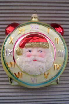 Vintage Germany blown glass Christmas tree Santa clock ornament