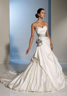 Satin Lace up A line Sweetheart Floor Length Sleeveless Bridal Gowns