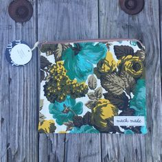 handmade vintage teal floral zipper pouch by mackmadegoods on Etsy