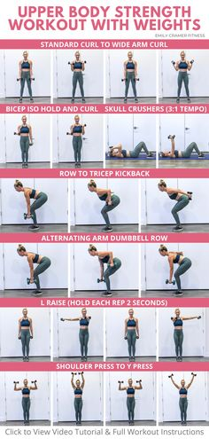 Upper Body Workout Gym, Upper Body Strength Workout, Upper Body Workout For Women, Body Workout At Home, Beginner Upper Body Workout, Dumbbell Workout At Home, Workout For Gym, Beginner Weight Lifting, Arms And Back Workout At Home