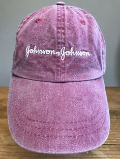 5b7bcab77381fd Johnson & Johnson Denim Baseball Cap Pink Hat 1 Size Unisex Leather  Strap Zkapz #