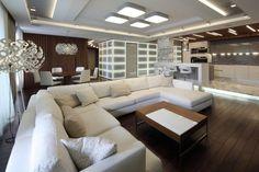nice Déco Salon - salon moderne et spacieux avec plafonniers, lampes de sol et éclairage indirect...