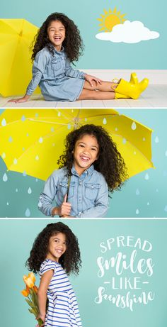 """News splash! Our new """"Jump into Spring"""" theme has arrived at a JCPenney Portraits near you. Celebrate the season with our umbrella, rain boots, and flower props along with our new Design Overlay options. Photography Mini Sessions, Kids Fashion Photography, Spring Photography, Children Photography, Kids Studio Photography, School Photography, Photography Props, Black Kids Fashion, Kids Winter Fashion"""