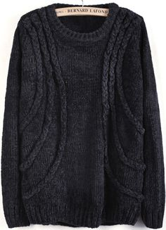 Grey Long Sleeve Cable Knit Loose Sweater