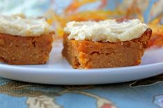 Paleo friendly and gluten free pumpkin bars with vanilla frosting. Moist and flavorful, these delicious bars are like a crustless pumpkin pie.