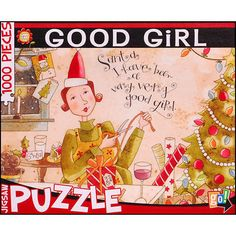 Good Girl 1000 Piece Puzzle: When the shopping is done, the tree festive, the presents wrapped and the cookies frosted, treat yourself to a glass of wine and a relaxing puzzle by Go! Games.  $14.99  http://calendars.com/Assorted-Jigsaw-Puzzles/Good-Girl-1000-Piece-Puzzle/prod201100012170/?categoryId=cat490008=cat490008#