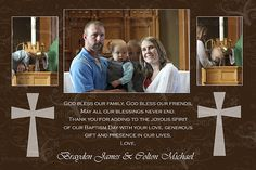 Baptism Thank You I created for a friend. Wording is not mine.
