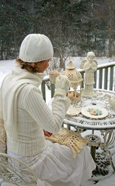 Tea time on my snow covered patio!!