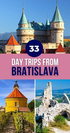 In this guide, you'll find 33 ideas for day trips from Bratislava. Some are within Slovakia, others will take you to its neighboring countries. Let's explore! | Bratislava Day Trips | Tours from Bratislava Slovakia | Day Trips from Bratislava Slovakia Estonia Travel, Poland Travel, Austria Travel, European Travel Tips, European Destination, Hiking Europe, Travel Europe, Time Travel, Regions Of Europe