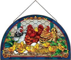 """CHARM Stained Glass 16.5"""" x 10.5"""" Rooster Hens Chickens Farmyard"""