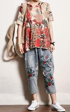 Printed Split Casual Loose Knitting T-Shirt Kimono Top, Pullover, Knitting, Casual, Summer, Pattern, Prints, T Shirt, Dresses