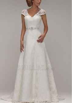 V-neck lace wedding dresses with beading waist and cap sleeves - 1640343 - Wedding Dresses