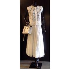 Lace shirt, skirt and shoulder bag by Saint Laurent Paris at #ilduomonovara