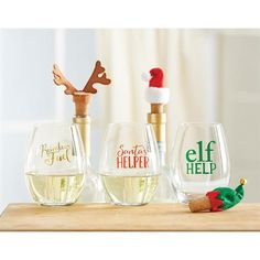 3 styles to choose from in this 2-piece set. Stemless wine glasses feature…