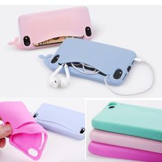 1.0AUD - Card Holder Soft Silicone Back Case Cover Cute Big Mouth Whale For Iphone 4 5 6 #ebay #Electronics
