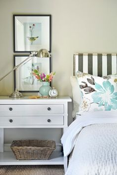 guest bedroom    Could do this type of dresser instead of a nightstand. The basket on the bottom shelf would be the guest essentials basket for them to use while they stay.
