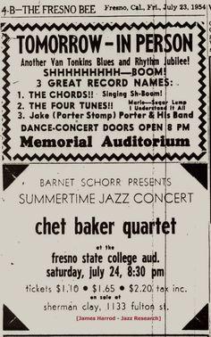 Image result for ticket to chet baker concert