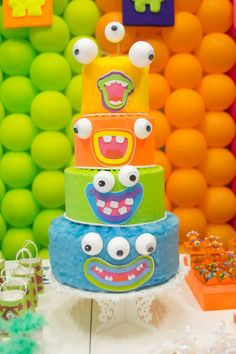 Monster Cake via Kara's Party Ideas | KarasPartyIdeas.com #monster #party #ideas #supplies #planning #cake