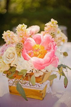 Pink peonies and peach roses lace wooden box wedding centerpiece / http://www.himisspuff.com/wooden-box-wedding-decor-centerpieces/3/